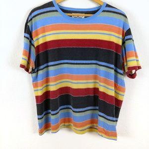 Vtg Striped Rainbow Multicolor Skate 90s Tshirt